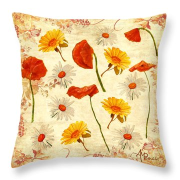 Throw Pillow featuring the mixed media Wild Flowers Vintage by Angeles M Pomata