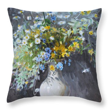 Wild Flowers Throw Pillow by Ylli Haruni