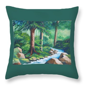 Wild Forest River Throw Pillow