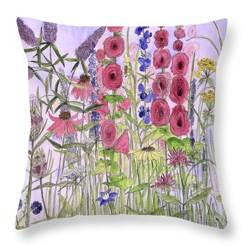 Throw Pillow featuring the painting Wild Garden Flowers by Laurie Rohner