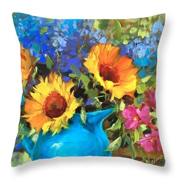 Wild Garden Sunflowers Throw Pillow