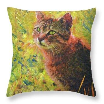 Wild Garden Tabby Throw Pillow