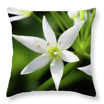 Wild Garlic Flower Throw Pillow