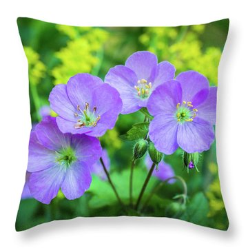 Wild Geranium Family Portrait Throw Pillow