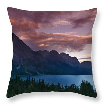 Wild Goose Island Glacier National Park Throw Pillow by Rich Franco