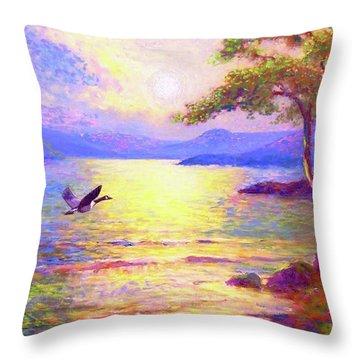 Wild Goose, Moon Song Throw Pillow