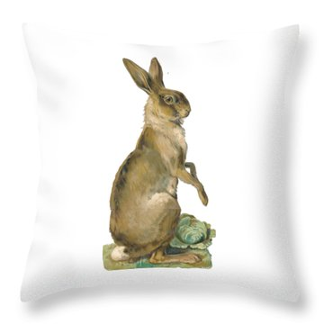Throw Pillow featuring the digital art Wild Hare by ReInVintaged