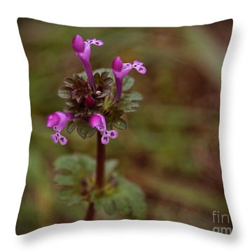 Wild Henbit Flower Loganville Georgia Throw Pillow