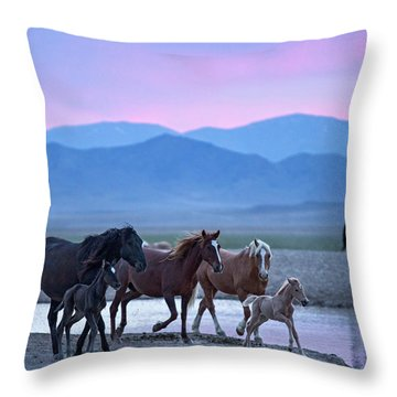 Wild Horse Sunrise Throw Pillow