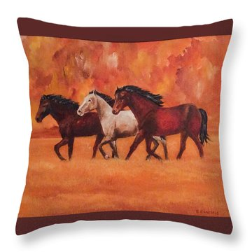 Wild Horses Throw Pillow by Ellen Canfield