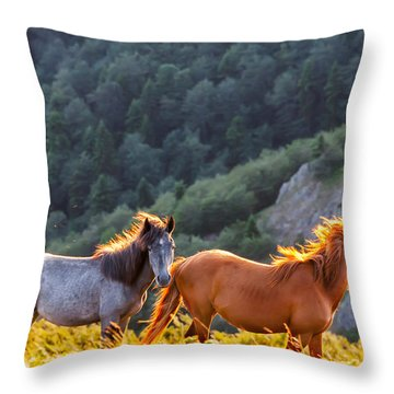 Wild Horses Throw Pillow by Evgeni Dinev