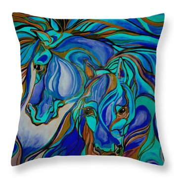 Wild  Horses In Brown And Teal Throw Pillow