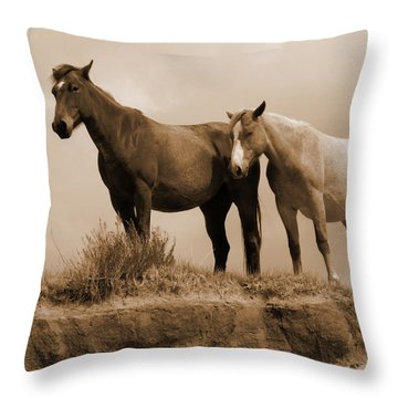 Wild Horses In Western Dakota Throw Pillow