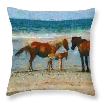Wild Horses Of The Outer Banks Throw Pillow