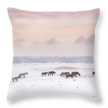 Wild Horses Out West Throw Pillow