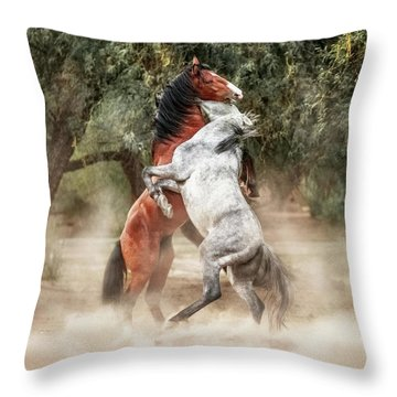 Wild Horses Rearing Up Play Fighting Throw Pillow