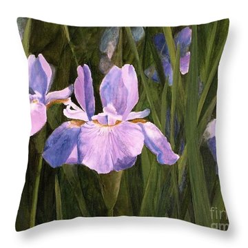 Throw Pillow featuring the painting Wild Iris by Laurie Rohner