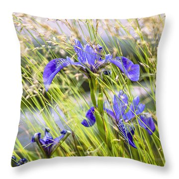 Wild Irises Throw Pillow by Marty Saccone