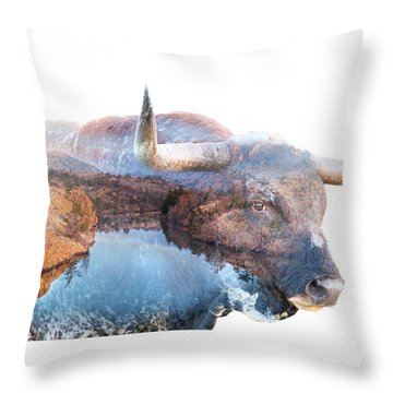 Wild Longhorn Bull And Lake Double Exposure Throw Pillow