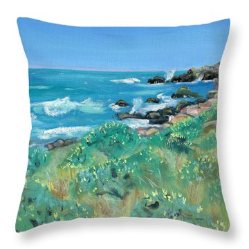 Wild Lupin At Gerstle Cove Park In May Throw Pillow by Asha Carolyn Young
