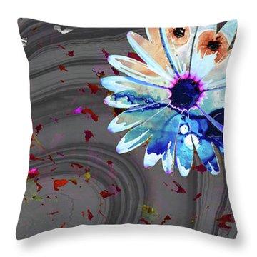 Wild Marbled Daisy Art - Sharon Cummings Throw Pillow