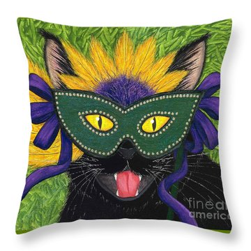 Wild Mardi Gras Cat Throw Pillow