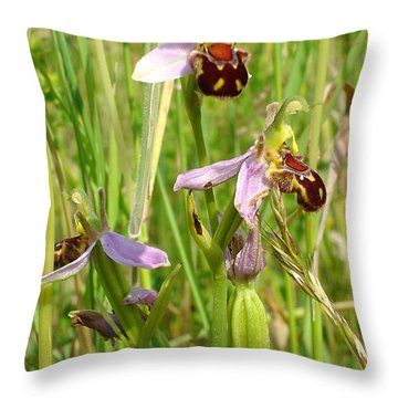 Wild Meadow Bee Orchids Throw Pillow