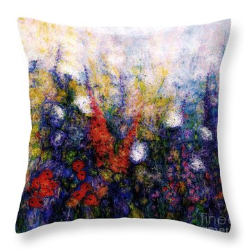 Wild Meadow Flowers Throw Pillow by Claire Bull
