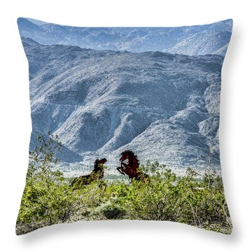Wild Metal Mustangs Throw Pillow