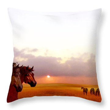 Wild Moorland Ponies Throw Pillow