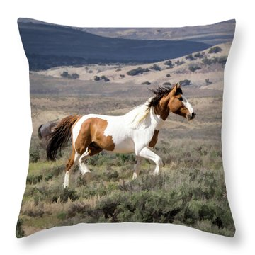 Wild Mustang Stallion On The Move In Sand Wash Basin Throw Pillow