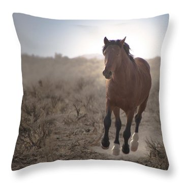 Wild Mustang Stallion Running Throw Pillow