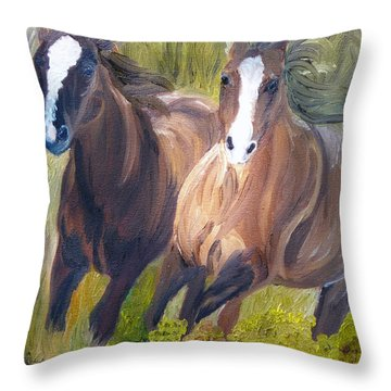Wild Mustangs Throw Pillow by Michael Lee