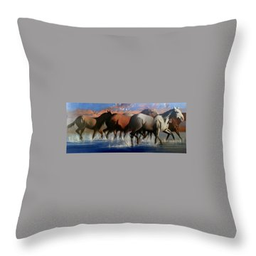 Wild Mustangs Of The Verder River Throw Pillow