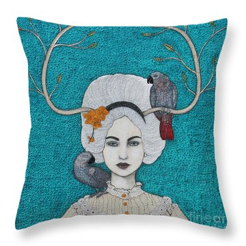 Throw Pillow featuring the mixed media Wild Orchid by Natalie Briney
