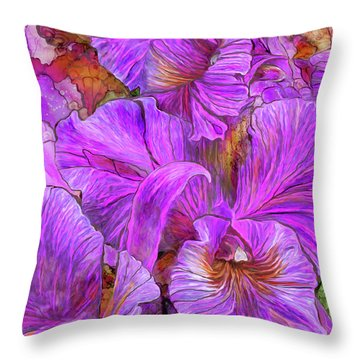 Throw Pillow featuring the mixed media Wild Orchids by Carol Cavalaris