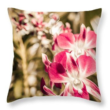 Wild Orchids Throw Pillow