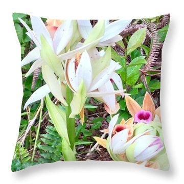 Wild Orchids In Pastel 2 Throw Pillow