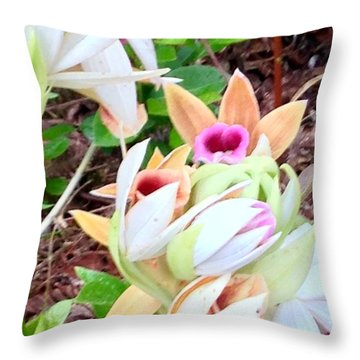 Wild Orchids In Pastel Throw Pillow