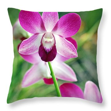 Wild Orchids Throw Pillow by Michael Peychich