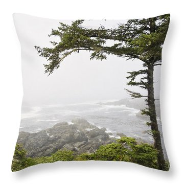 In The Fog On The Wild Pacific Trail Throw Pillow