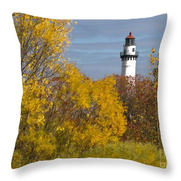 Wind Point Lighthouse In Fall Throw Pillow