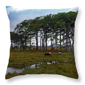 Wild Ponies Of Assateague Throw Pillow