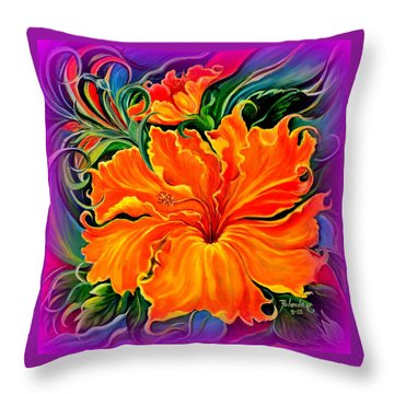 Throw Pillow featuring the painting Wild Purple Hibiscus by Yolanda Rodriguez