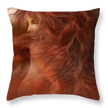 Wild Red Wind Throw Pillow by Carol Cavalaris