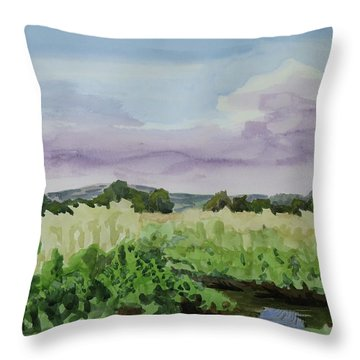 Wild Rice Field Throw Pillow by Bethany Lee