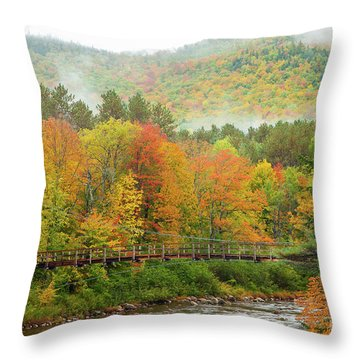 Throw Pillow featuring the photograph Wild River Bridge by Susan Cole Kelly