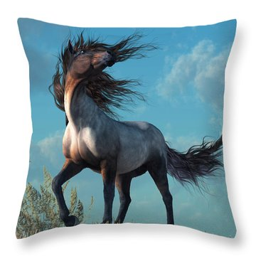Throw Pillow featuring the digital art Wild Roan by Daniel Eskridge