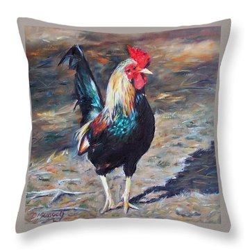 Wild Rooster Throw Pillow by Donna Munsch