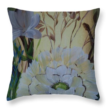 Wild Rose In The Forest Throw Pillow by Donna Brown